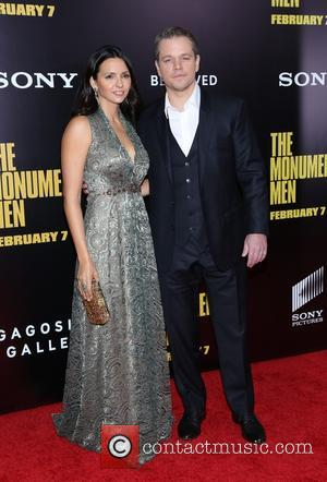 Luciana Barroso and Matt Damon - Premiere of 'The Monuments Men' held at the Ziegfeld Theater - Arrivals - New...