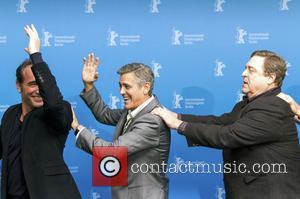 Jean Dujardin, George Clooney and John Goodman - 64th Berlin International Film Festival (Berlinale) - 'The Monuments Men' photocall -...