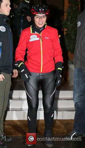 Davina McCall - Davina McCall leaves a hotel in Keswick to begin day 2 of her BT Sport Relief Challenge...