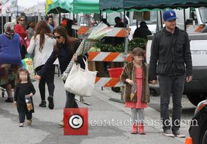 Jason Bateman, Amanda Anka and Francesca Nora Bateman - Jason Bateman took his family to a farmers market in Beverly...