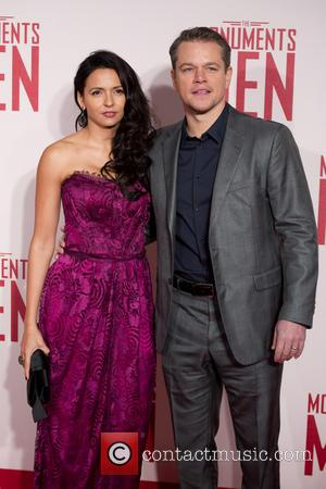 Luciana Barroso and Matt Damon - U.K.premiere of 'The Monuments Men' held at the Odeon Leicester Square - Arrivals -...