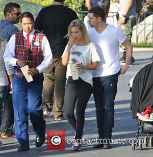 Michael Buble and Luisana Lopilato - Michael Buble with his wife Luisana Lopilato and family visit Disneyland - Anaheim, California,...