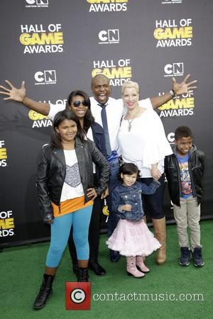 Terry Crews and family - Cartoon Network's Hall of Game Awards at The Barker Hangar - Arrivals - Los Angeles,...