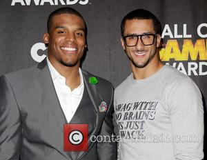 Cam Newton and Colin Kaepernick - Celebrities attend Cartoon Network's Hall of Game Awards - Press Room at The Barker...