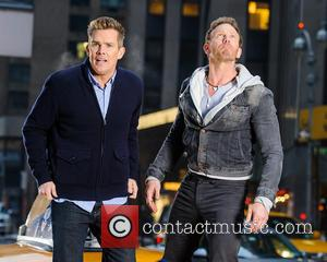Mark McGrath and Ian Ziering - Filimg for 'Sharknado 2: The Next One' takes place in Times Square - New...