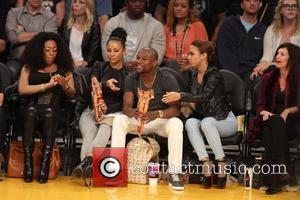 Floyd Mayweather Jr. - Celebrities courtside at the Lakers game. The Los Angeles Lakers defeated the Boston Celtics by the...