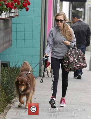 Amanda Seyfried and Finn - Amanda Seyfried running errands with her dog Finn - West Hollywood, California, United States -...