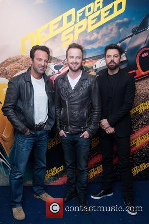 Director Scott Waugh, Aaron Paul and Dominic Cooper