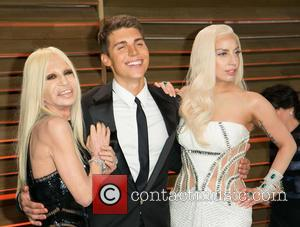 Donatella Versace, Nolan Gerard Funk and Lady GaGa - Vanity Fair Oscar Party - Arrivals - Los Angeles, California, United...