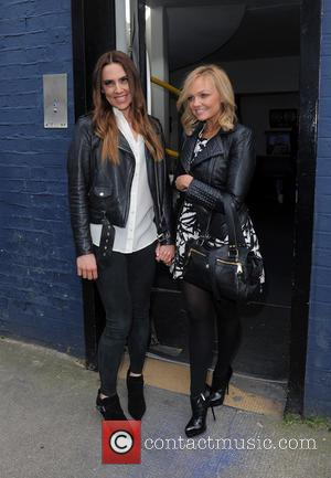 Mel C, Melanie Chisholm and Emma Bunton - Celebrities leaving a recording studio in West London, having recorded a single...