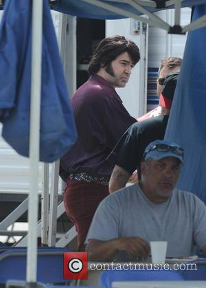 Ron Livingston - Ashley Greene shows off her beach body in a vintage-inspired bathing suit on the set of 'The...
