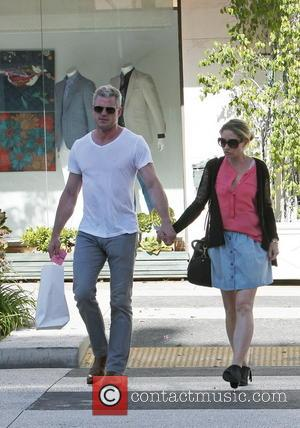 Eric Dane and Rebecca Gayheart - Eric Dane with wife Rebecca Gayheart out and about walking holding hands in Beverly...