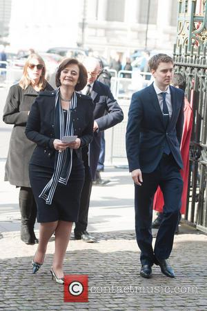 Cherie Blair and Euan Blair - David Frost - memorial unveiling and service of remembrance held at Westminster Abbey -...
