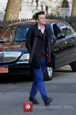 Chris Colfer - Cast members of 'Glee' filming on location in Washington Square Park - Manhattan, New York, United States...