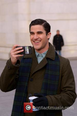 Darren Criss - Cast members of 'Glee' filming on location in Washington Square Park - Manhattan, New York, United States...