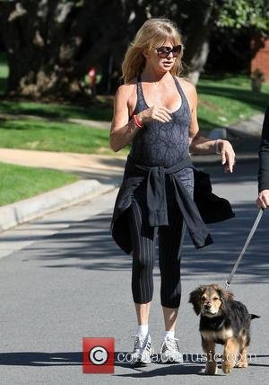 Goldie Hawn - Goldie Hawn out walking with a friend and her pet dog  in Brentwood - Los Angeles,...
