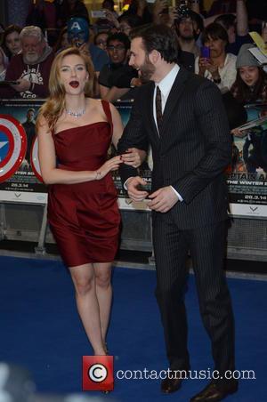 Scarlett Johansson and CHRIS EVANS - 'Captain America: The Winter Soldier' UK Premiere at Westfield - Arrivals - London, United...