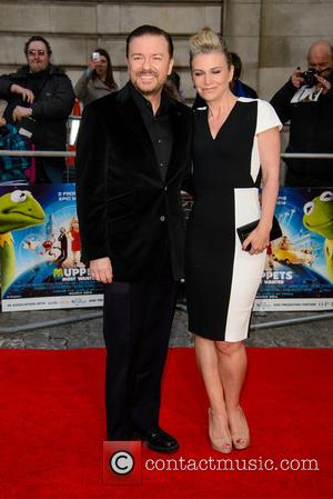 Ricky Gervais - 'Muppets Most Wanted' Screening at the Curzon Mayfair - Arrivals - London, United Kingdom - Monday 24th...