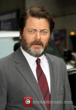 Nick Offerman - Celebrities outside the Ed Sullivan Theater as they arrive for the Late Show with David Letterman -...