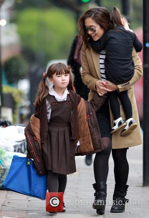 Myleene Klass, Ava Quinn and Hero Quinn - Myleene Klass out and about with her daughters Ava and Hero, near...