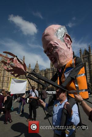 Chris Grayling Effigy - Lawyers and Probation Officers demonstrate outside Parliament against the Ministry of Justice's new
