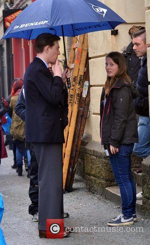 Domhnall Gleeson - Saoirse Ronan and Domhnall Gleeson on set filming 'Brooklyn' - Enniscorthy, Ireland - Wednesday 2nd April 2014