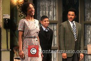 Sophie Okonedo, Bryce Clyde Jenkins and Jason Dirden - Opening night curtain call for A Raisin in the Sun at...