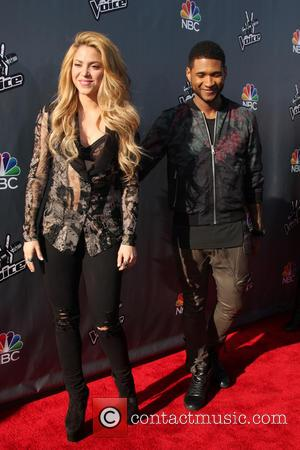 Shakira and Usher - The Voice USA coaches - Photocall - Los Angeles, California, United States - Friday 4th April...