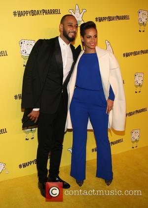 Swizz Beatz and : Alicia Keys - Pharrell Williams celebrates his 41st birthday with a Spongebob Squarepants themed party at...