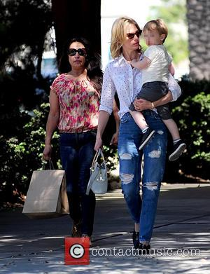 January Jones and Xander Jones - January Jones takes son Xander to lunch at Houston's restaurant. Little Xander is spotted...