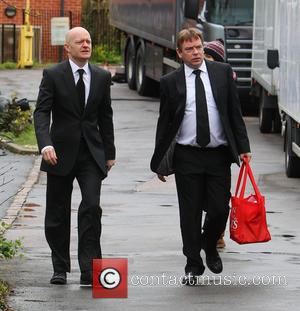 Adam Woodyatt and Jake Wood - Eastenders cast film scenes for Lucy Beale's funeral - London, United Kingdom - Monday...