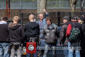Simon Pegg - Kate Beckinsale, Simon Pegg and Sanjeev Bashkar filming scenes for the movie 'Absolutely Anything' on location in...