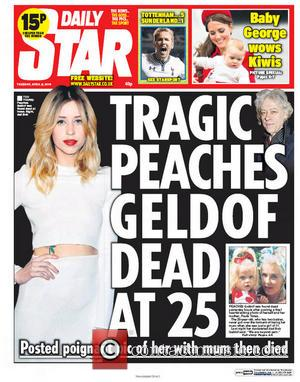 Peaches Geldof and Daily Star