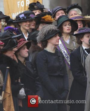 Helena Bonham Carter and Carey Mulligan - Helena Bonham Carter and Carey Mulligan film a scene for the movie 'Suffragette'...