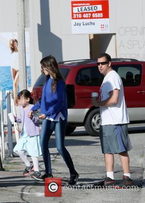 Adam Sandler, Sadie Sandler and Jackie Sandler - Adam Sandler out with his family in Brentwood - Los Angeles, California,...