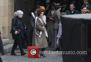 Helena Bonham Carter - Helena Bonham Carter filming scenes for the movie 'Suffragette' outside the Houses of Parliament - London,...