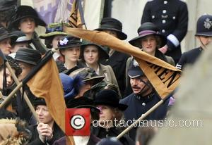 Carey Mulligan and Helena Bonham Carter - Carey Mulligan and Helena Bonham Carter filming scenes for their latest movie 'Suffragettes'...
