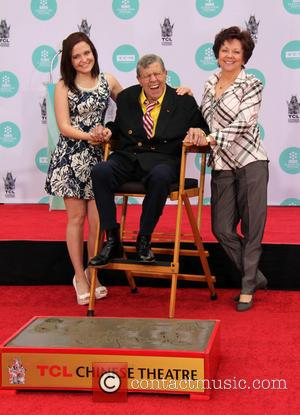 Jerry Lewis, Danielle Sarah Lewis and SanDee Pitnick - Jerry Lewis' Hand and Footprint Ceremony at TCL Chinese Theatre IMAX...