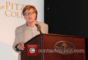 Robert Redford - Actor and Pitzer College Trustee Robert Redford appears at a press conference highlighting Pitzer College's decision to...
