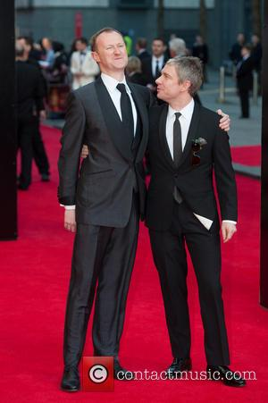 Mark Gatiss and Martin Freeman - Olivier Awards 2014 held at the Royal Opera House - Arrivals - London, United...