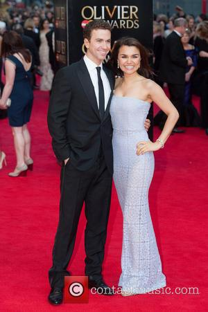Samantha Barks and Richard Fleeshman - Olivier Awards 2014 held at the Royal Opera House - Arrivals - London, United...