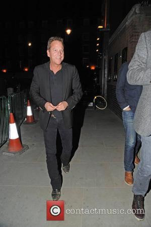 Kiefer Sutherland - Kiefer Sutherland at the Chiltern Firehouse restaurant in Marylebone. He wore a pair of scruffy unpolished shoes...