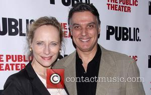 Laila Robins and Robert Cuccioli - Opening night of The Library at the Public Theater - Arrivals. - New York,...