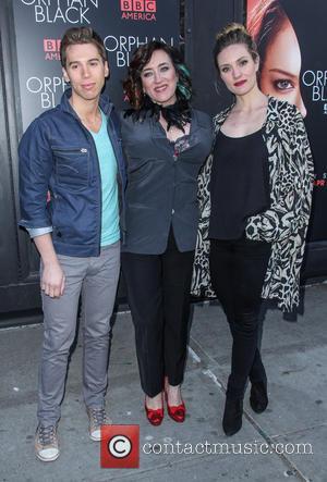 Jordan Gavaris, Maria Doyle Kennedy and Evelyn Brochu