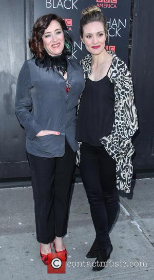 Maria Doyle Kennedy and Evelyn Brochu - 'Orphan Black' premiere at Sunshine Cinema - Arrivals - New York, United States...