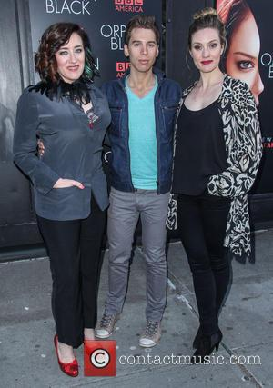 Maria Doyle Kennedy, Jordan Gavaris and Evelyn Brochu - 'Orphan Black' premiere at Sunshine Cinema - Arrivals - New York,...