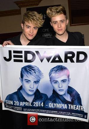 Jedward - Sporting a new more mature image Jedward pose at The Olympia Theatre ahead of their concert there tonight......