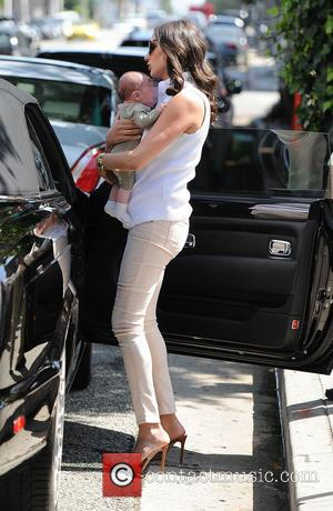 Lauren Silverman and Eric Cowell - Simon Cowell and Lauren Silverman leave The Ivy with their baby son Eric -...