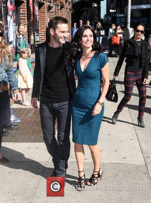 Courteney Cox and Johnny McDaid - Courteney Cox at the Ed Sullivan Theater for the  Late Show with David...