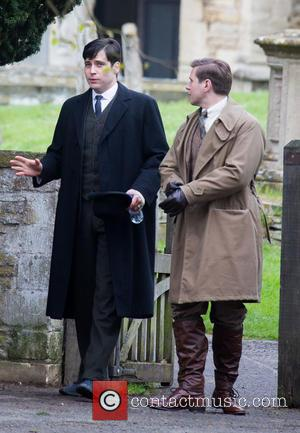 Allen Leech and Rob James-Collier - The cast of Downton Abbey film scenes on location outside a churchyard - Oxford,...